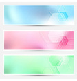 Modern bright hexagon cards collection vector image vector image