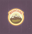 mountains vintage round colored emblem vector image vector image