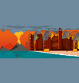 natural disaster volcano eruption city beach vector image vector image