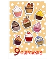 nine delicious colorful cupcakes vector image vector image