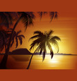 orange tropical sunset vector image