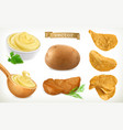 potato mash and chips vegetable 3d icon set vector image vector image