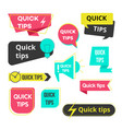 quick tips bubbles and banners set icon vector image vector image