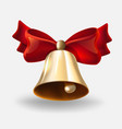 realistic bell with red bow vector image