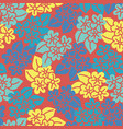 red yellow blue hibiscus hand drawn pattern tile vector image
