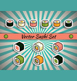 rolls sushi set vector image vector image