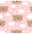seamless pattern sleeping bear face cloud vector image vector image