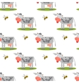 Seamless pattern with cows and bees vector image