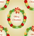 Seamless texture Merry Christmas Wreath vector image vector image