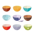 set of empty soup plates with different vector image vector image