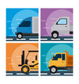 set transport vehicles vector image vector image