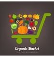 Shopping basket with fruits and vegetables icons vector image vector image
