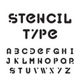 stencil typeface black modular round alphabet vector image