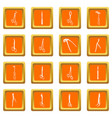surgeons tools icons set orange square vector image vector image