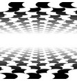 vanishing checkered surface with circles 3d vector image