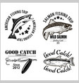 vintage salmon fishing emblem label and design vector image vector image