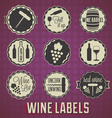Vintage Style Wine Labels and Icons vector image vector image