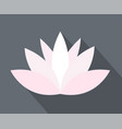 white and pink lotus flower icon simple flat on vector image