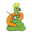 with a cartoon snake with a cigarette vector image vector image