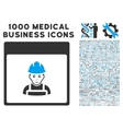 Worker Calendar Page Icon With 1000 Medical vector image vector image
