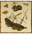 Wreck of the ancient ship and its wreckage vector image vector image