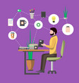 young man in office workplace infographics vector image