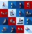 Gym Workout People Flat Set vector image