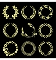 Golden wreaths isolated on black background vector image