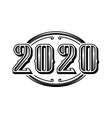 2020 numbers retro design in black and white style vector image