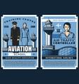 air traffic controller pilots aviation school vector image vector image