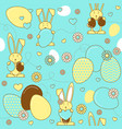 aster eggs and rabbits easter seamless pattern vector image
