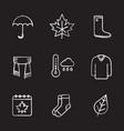 autumn chalk icons set vector image vector image