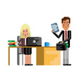 blonde secretary working at laptop vector image vector image