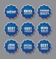 blue adverising discount stickers vector image vector image