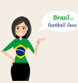brazil football fanscheerful soccer fans sports vector image