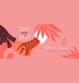 breast cancer month banner women holding hands vector image