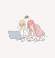 business team stress depression frustration vector image vector image