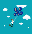 businessman flying on balloons with currency vector image vector image