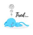 cartoon kitten tired funny doodle cat vector image vector image