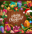 christmas tree wreath with gift on wood background vector image vector image