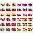 Colombia Russia Maldives Bolivia Set of 36 flags vector image vector image