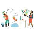 cooking and fishing hobmen pastime vector image