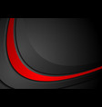 dark corporate background with black red waves vector image vector image