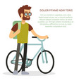 eco travel concept - man with bicycle and backpack vector image