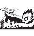 firefighting aircraft extinguishes forest fire vector image vector image