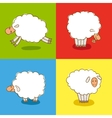 Four White Sheeps Isolated on colored background vector image vector image