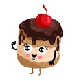 Funny cake with cherry isolated cartoon character vector image vector image