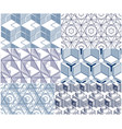 geometric 3d lines abstract seamless patterns set vector image vector image
