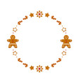 gingerbread cookies round frame vector image vector image