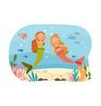 happy little mythical mermaids under ocean vector image